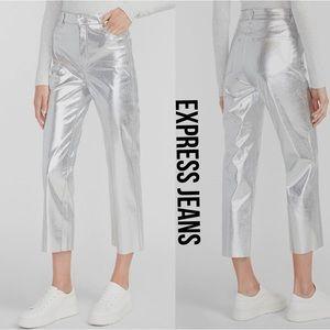 Express Jeans Silver Metallic High Rise  NWT